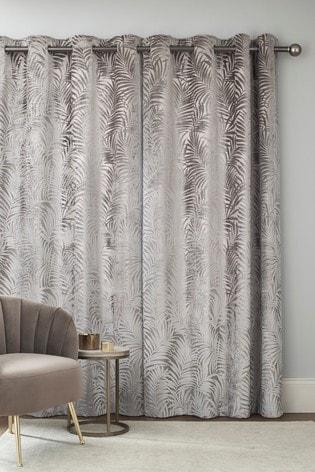 Cut Velvet Palm Leaf Eyelet Lined Curtains
