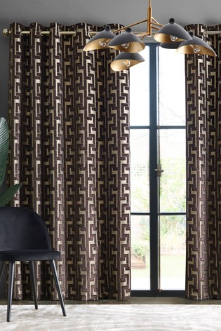 Collection Luxe Fretwork Velvet Eyelet Lined Curtains