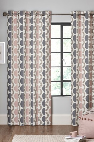 Circle Geo Print Eyelet Curtains