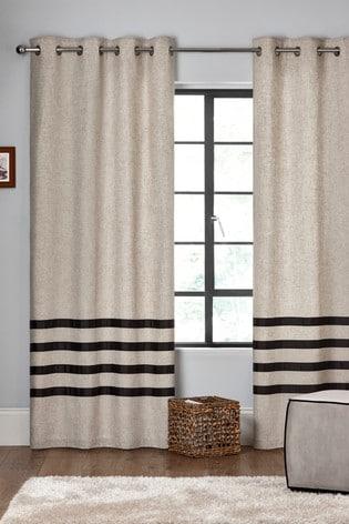 Brooklyn Stripe Eyelet Lined Curtains