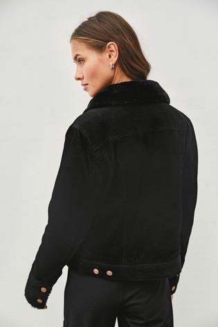 Black Faux Fur Lined Cord Jacket