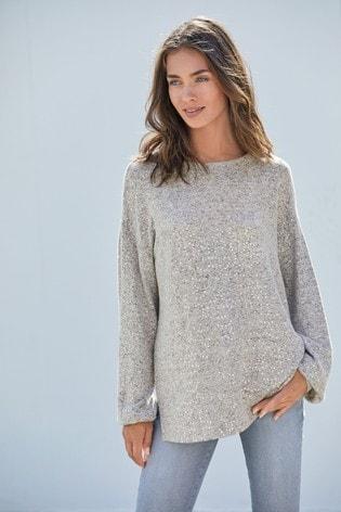 Grey Cosy Sequin Top