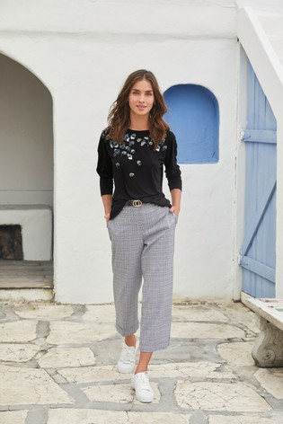 Grey Check Belted Culottes