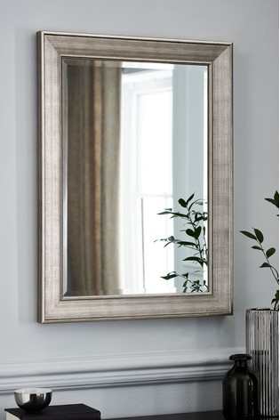 Silver Textured Deep Frame Mirror