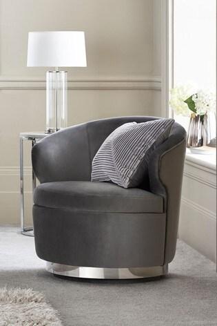 Elinore Opulent Velvet Steel Chrome Swivel Base Accent Chair