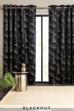 Black Velvet Metallic Foiled Eyelet Curtains
