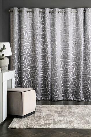 Velvet Metallic Foiled Eyelet Curtains