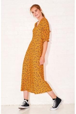 buy ochre ditsy short sleeve midi dress from the next uk