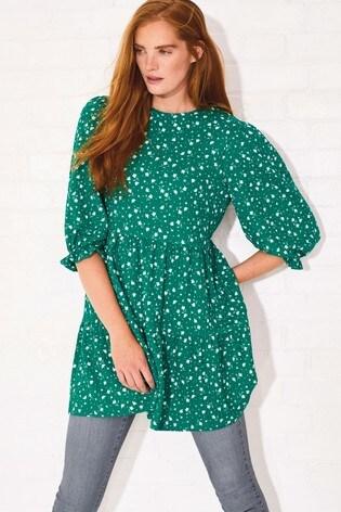 Green Textured Short Sleeve Tiered Tunic