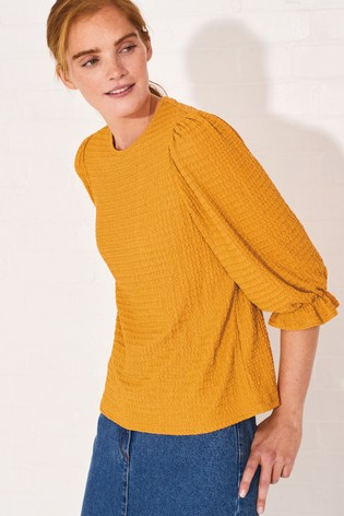 Ochre 3/4 Sleeve Textured Top