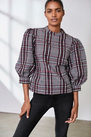 Burgundy Check Puff Sleeve Check Top