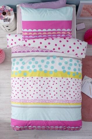 2 Pack Bright Geo Pop Reversible Duvet Cover And Pillowcase Set