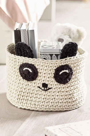 Knitted Panda Storage Basket