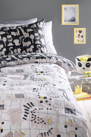 Mono Pop Animals Reversible Duvet Cover and Pillowcase Set