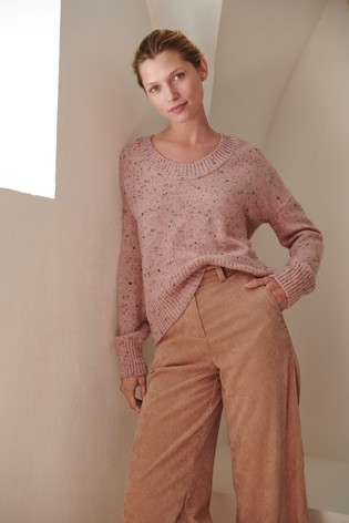 Pink Scoop Neck Jumper