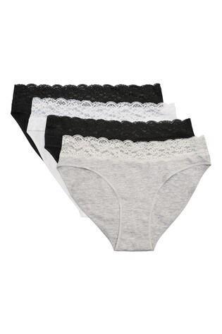 Monochrome High Leg Lace Trim Cotton Blend Knickers Four Pack