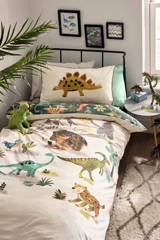 Prehistoric Dinosaurs & Friends Reversible Duvet Cover and Pillowcase Set