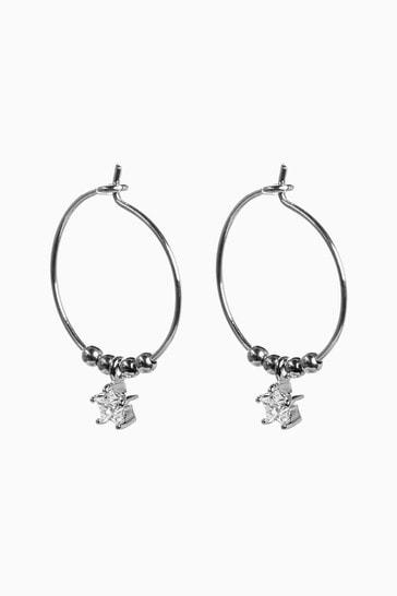 Sterling Silver Star Mini Hoop Earrings