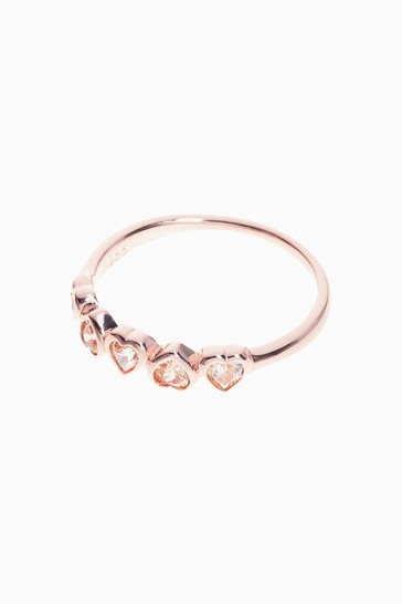 Rose Gold Sterling Silver Sparkle Heart Ring