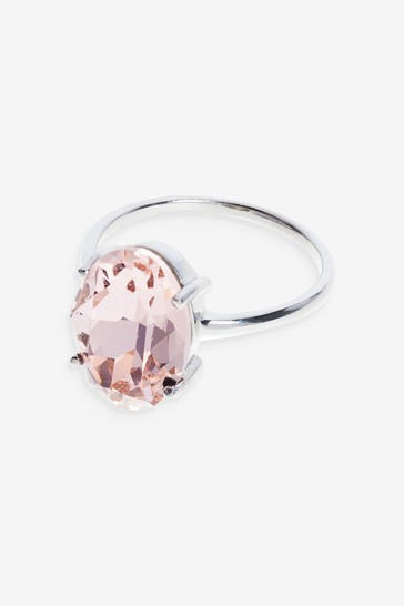 Sterling Silver/Rose Preciosa Mega Crystal Ring