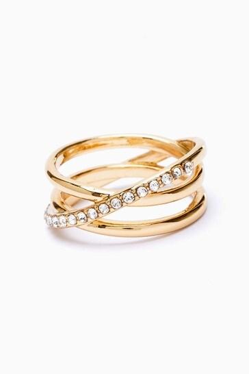 Gold Tone Ellipsis Pavé Ring