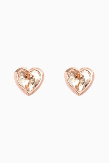 Rose Gold Sterling Silver Delicate Heart Stud Earrings