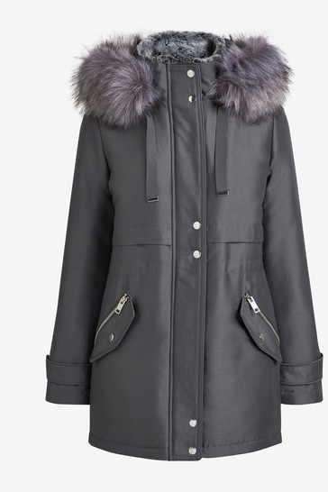 Grey Faux Fur Hooded Parka Coat