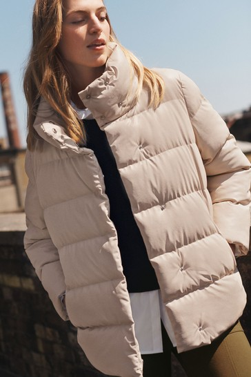 Neutral Faux Leather PU Padded Jacket