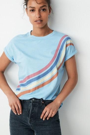 Blue Rainbow Curved Hem T-Shirt