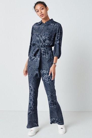 Blue Zipped Jumpsuit