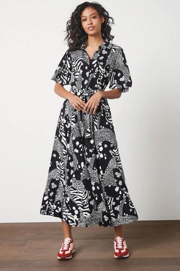 Monochrome Angel Sleeve Shirt Dress