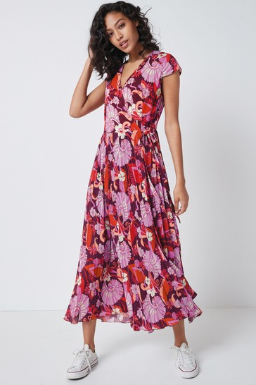 Pink Retro Floral Pleated Wrap Midi Dress
