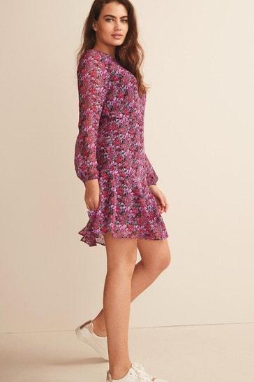 Pink Floral Long Sleeve Flippy Dress