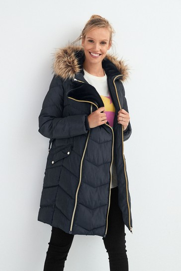 Navy Maternity 3-In-1 Faux Fur Lined Padded Jacket
