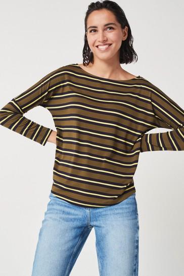 Khaki Green Stripe Dolman Long Sleeve Top