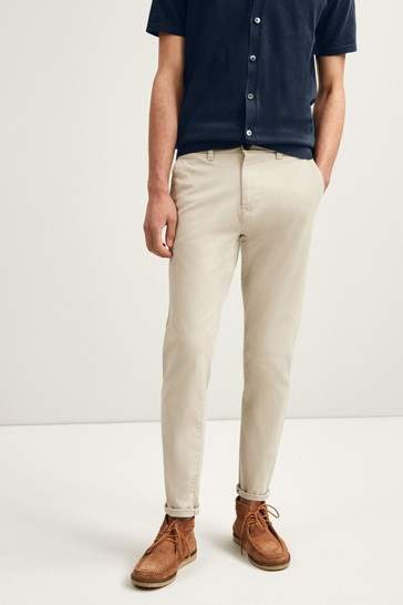 Light Stone Slim Tapered Stretch Chino Trousers