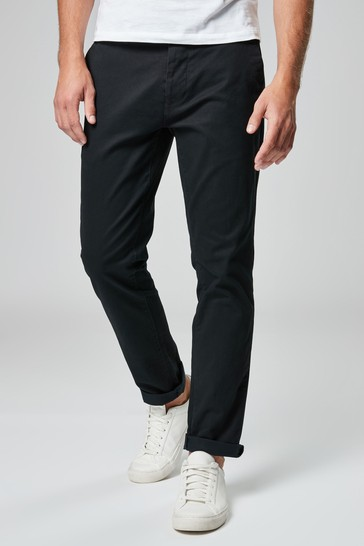 Black Slim Fit Stretch Chino Trousers