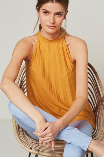 Orange Pleated Halter Top
