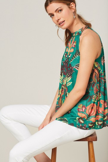 Green Placement Print Pleated Halter Top