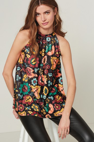 Black All-Over Print Pleated Halter Top