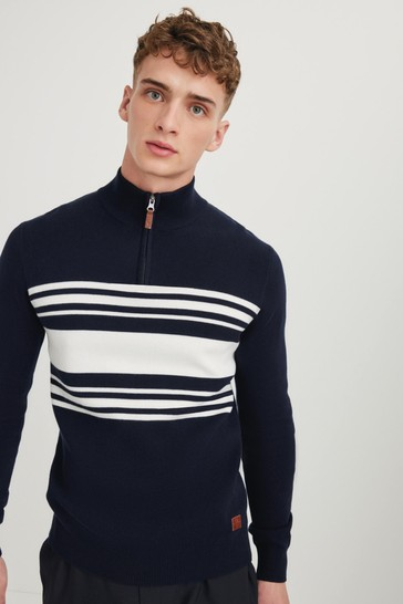 Navy Blue/White Colourblock Zip Neck Jumper