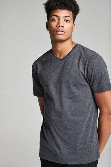 Charcoal Grey Marl Regular Fit V-Neck T-Shirt