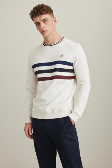 Ecru Striped Crew Sweatshirt