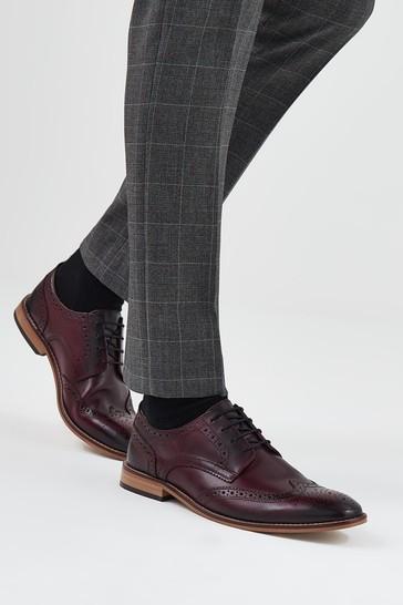 Burgundy Regular Fit Mens Contrast Sole Leather Brogues