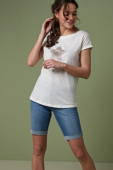 Embellished Star White Curved Hem T-Shirt