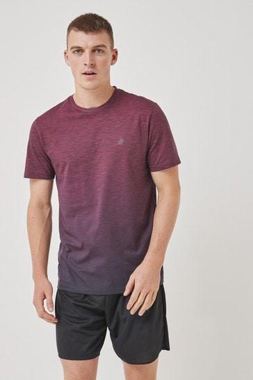 Burgundy Red Ombré Print Short Sleeve Tee Next Active Sports T-Shirt
