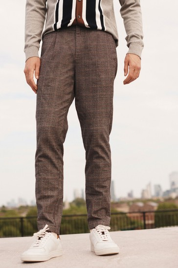 Neutral Heritage Check Slim Fit Cotton Chino Trousers