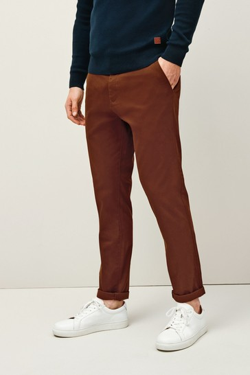Rust Slim Fit Stretch Chino Trousers
