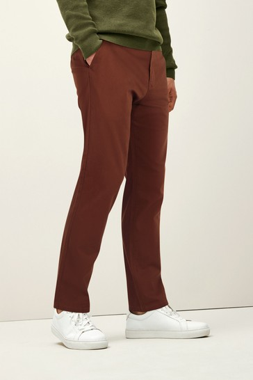 Rust Straight Fit Stretch Chino Trousers