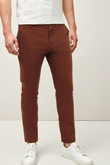 Rust Skinny Fit Stretch Chino Trousers